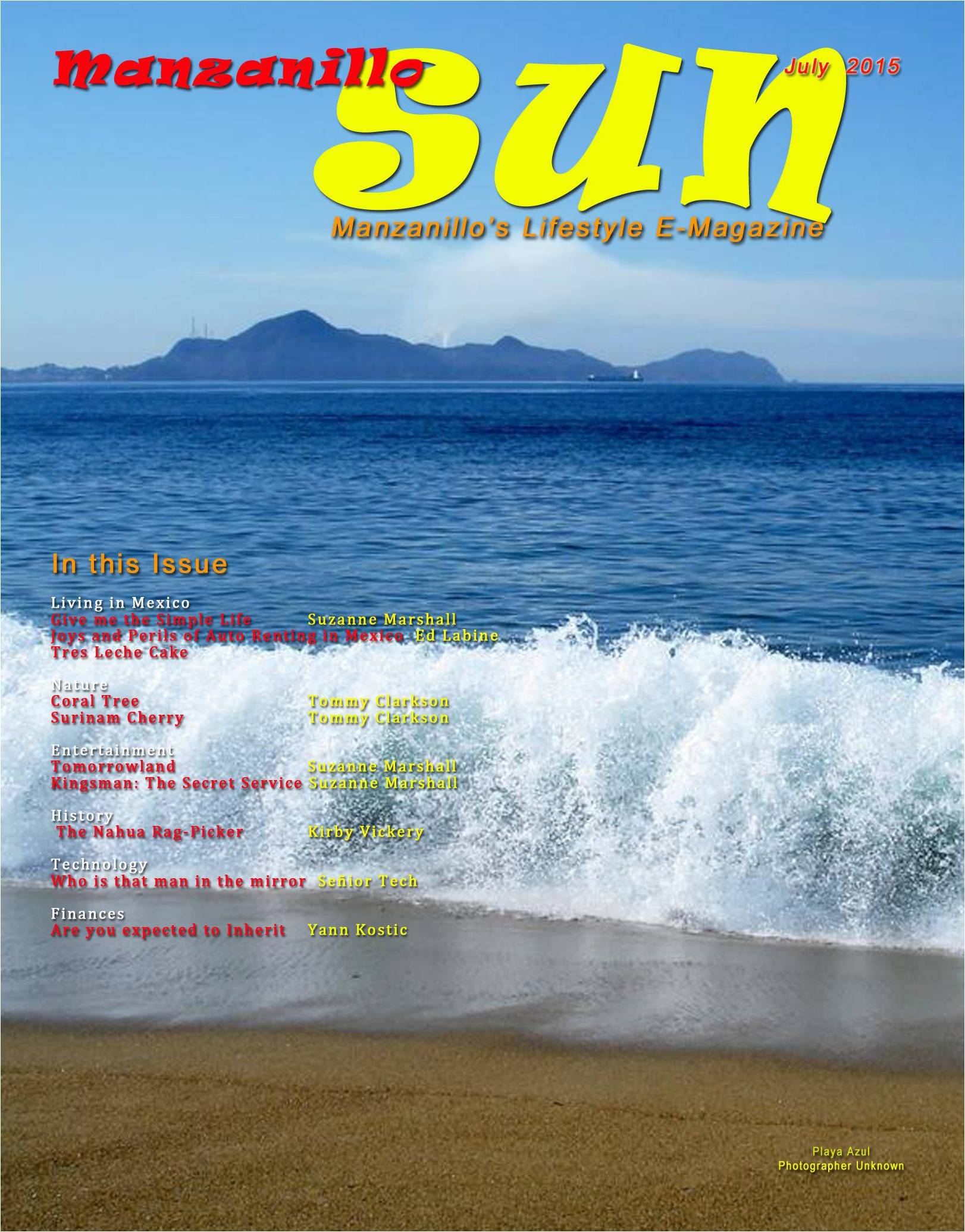Manzanillo Sun cover July 2015